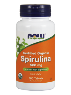 NOW FOODS Spirulina Certified Organic 500mg, 100 tabl.
